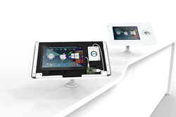 Shell+ 12 counter mounted tablet enclosure connected to a NFC contactless reader via a LAVA hub for Samsung tablets.