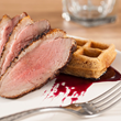 Smoked Duck with Five Spice Waffles and Hibiscus Syrup
