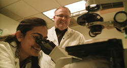 Dr. Johnathan Whetstine, Association Professor of Medicine at Harvard Medical School, and Dr. Sweta Mishra, a Postdoctoral Research Fellow, research drug-resistant lung cancer at Massachusetts General Hospital Cancer Center with funding from the American