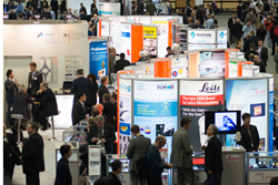 The Photonics West Exhibition is a vital part of the week's events; above an exhibit hall during last year's event.