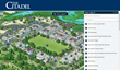 A screenshot of The Citadel's virtual tour and campus map