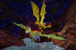 Scene from Dragon-Racers video game showing the diabetic dragon leading a race through a volcano.
