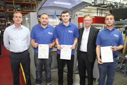 Apprentices Daniel Gillam, Vincenzo  Ciacciarelli and Joe Cussell receiving their awards.