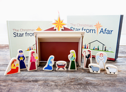 the set includes a hard cover book, a 15 piece wooden nativity set and a wooden Star