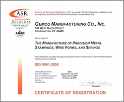GEMCO Mfg. Co. Achieves ISO 9001-2008 Re-Certification www.gemcomfg.com