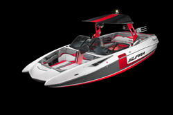 Slick automotive styling reminiscent of the ROUSH Mustang, including custom metallic colors on the tower and a two-tone hull gelcoat adds to the appeal of the Supra SE 550 ROUSH-edition wake boat.