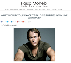 Parsa Mohebi, MD introduces new feature to show celebrities with and without hair