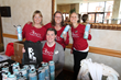 The staff and volunteers at the 2015 Wellness Fair welcome attendees with reusable water bottles that promote heatlh, hydration and decrease waste.