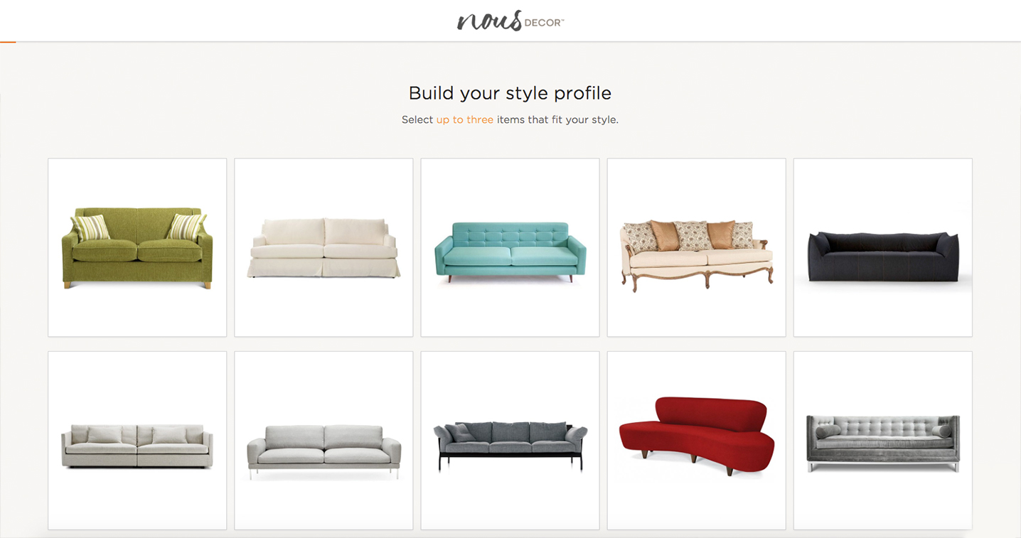 NousDecor Users Take A Style Quiz To Guide The ProcessPage For Start Of  Style Quiz