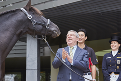 Straight from the horse's mouth: International Olympic Committee President Thomas Bach was greeted at Fédération Equestre Internationale (FEI) Headquarters by the stallion Sarango after meetings with an FEI delegation headed by President Ingmar De Vos and