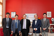 Yang Liu, Deputy Dean of the Department of International Cooperation and Exchange (left), Shengwei Zhao, Vice President (second from left), Brooks President Edward Clift (middle), Mr. Winston Zi Li, B
