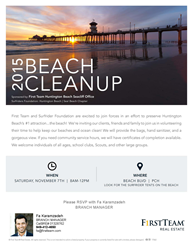 Join First Team Estates Christie's International for a Beach Clean Up at Huntington State And City Beaches at Beach Blvd. and Pacific Coast Highway on Saturday, November 7