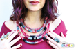 Designer and Blogger Alisa Burke used Tulip Custom ColorLab yarns and dyes to customize her yarn, then made a necklace.