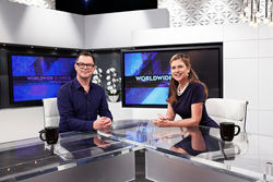 Kathy Ireland with Retail Voodoo President David Lemley on the set of Worldwide Business with kathy ireland.