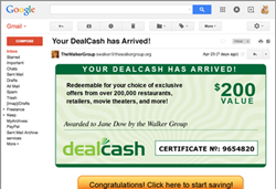 A screenshot of a sample DealPoints fulfillment email