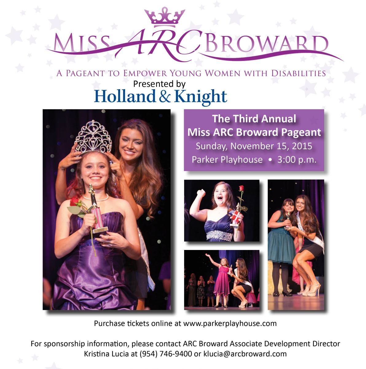 Miss ARC Broward Pageant, a pageant to empower women with disabilities,  will take place November 15 at Parker Playhouse in Fort Lauderdale.