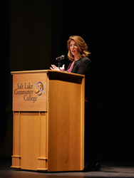 Naomi Klein talks about her new book and film at Salt Lake Community College's Grand Theatre.