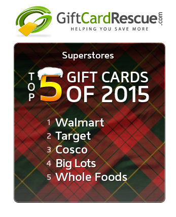 GiftCardRescue.com Releases Annual Top 20 Gift Card List for 2015.