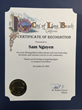 Sam Nguyen-Di Ai Hong Sam recieves a Certificate of Recognition from Long Beach Mayor Robert Garcia