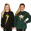 Marvel fan? Her Universe has you covered with its powerful Ms. Marvel sweatshirt (left) featuring glow-in-the-dark lightning bolt logo & (right) this regal Loki sweater (printed in gold foil).