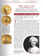 The American Arts program includes ten gold medals—five half-ounce and five one-ounce—honoring some of the most famous U.S. writers, actors, and other artists, like Mark Twain, Frank Lloyd Wright, Mar