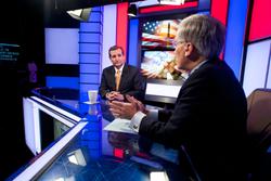 "U.S. Senator Ted Cruz on the EWTN News set with Robert George, Host of EWTN's ""Candidate Conversations 2016 with Robert George."" Premieres 10 a.m. ET, Sunday, Nov. 29. Photo credit: Tom O'Connor"