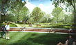 Civitas rendering of view across the mound at NCMA Museum Park shows community engaging with nature and outdoor art installations (courtesy of Civitas).