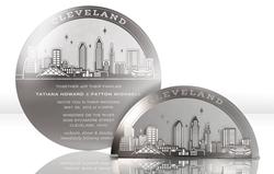Cleveland Skyline Metal Invitation