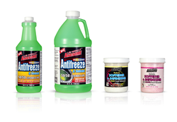 From left: Awesome Products Antifreeze in 64oz and 128oz, Fabric Softener & Refresher in Fresh Scent and Floral Scent