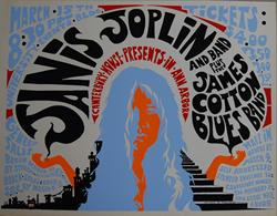Original 1969 Janis Joplin Ann Arbor Michigan Psychedelic Style Concert Poster