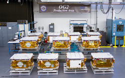Eleven OG2 Mission 2 Satellites at SNC's facility in Colorado Prior to Shipment to Cape Canaveral, Florida.