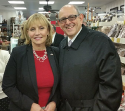 (Left to Right) New Jersey Lt. Governor and Secretary of State Kim Guadagno, NJSBDC at Bergen Community College Regional Director, Vincent Vicari in Westwood, NJ on Small Business Saturday - Saturday, November 28, 2015