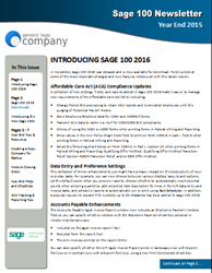 Sage 100 Year End Newsletter Now Available for Sage Partners