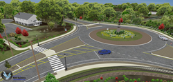 This 3D model shows the design of a roundabout proposed to replace the intersection of state routes 110 and 111 in the town of Monroe, CT.