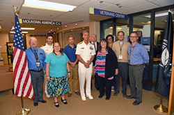 Navy Rear Admiral Richard P. Snyder visits the SLCC Veterans Center during Navy Week.