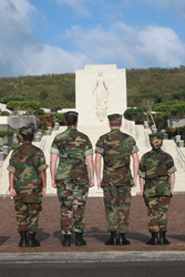 Youth Members of the Young Marines at the National Cemetery of the Pacific - the Punchbowl - in Honolulu, Hawaii