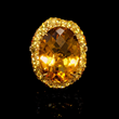 Orange and Yellow Sapphire and Citrine 18k Yellow Gold Ring (#7540)