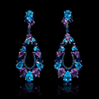 Blue Sapphire Blue Topaz Amethyst and Iolite 18k White Gold Dangle Earrings (#7545)