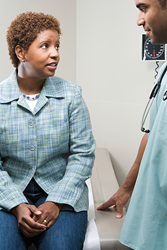 African American woman visiting health care provider