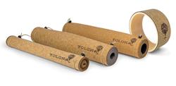 Eco-friendly cork yoga mats and yoga wheel by Yoloha Yoga