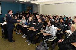 Utah Gov. Gary Herbert meets with students at Salt Lake Community College.