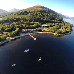 Aerial view of the Lodge on Loch Lomond