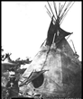 A historical photo of a Shoshone teepee reveals structure reflected in elements of the Ward + Blake Architects and Fanning/Howey Associates design of the new Fort Washakie school in Wyoming.