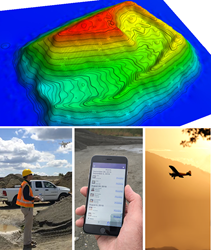 Image of a colorized 3D contour map of a stockpile. Image of a plane, drone and iPhone used for stockpile measurement by StockpileReports.com subscribers.