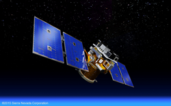 SNC rendering of STPSat-5 satellite in low-Earth orbit.