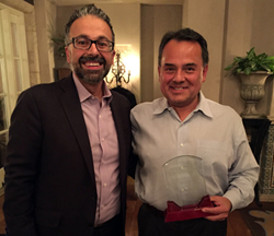 PROSHRED Security CEO Jeff Hasham presents award to Proshred Georgia's Greg Gálvez