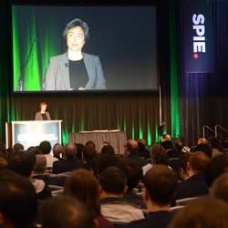 Plenary talks on opening day of SPIE Advanced Lithography draw large crowds; above, Stanford's Tsu-Jae King Liu gives a talk at the 2015 event.