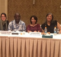 Stetson Professor Luz Nagle (third from left) joined experts from around the world to discuss human trafficking at a UN meeting in Jordan.