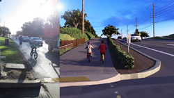This image shows the current bike path on the left, while the right shows the planned bike path. More images at: https://www.gamesim.com/3d-urban-planning-visualization-package/