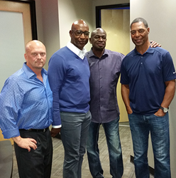 David Gergen meeting with Eric Dickerson, Roy Green and Marcus Allen